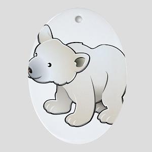 Gray Baby Polar Bear Ornament (Oval)