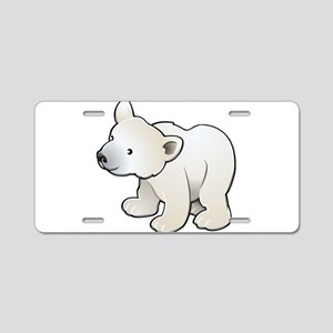 Gray Baby Polar Bear Aluminum License Plate