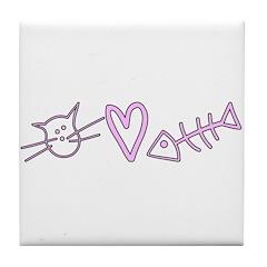 Cat Love Fish Tile Coaster
