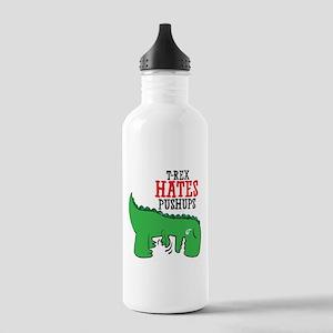 Trex hates pushups Water Bottle