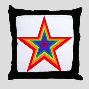 Rainbow Star Throw Pillow