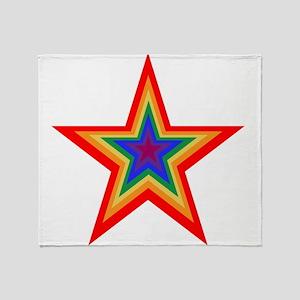 Rainbow Star Throw Blanket