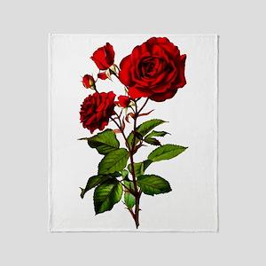 Vintage Red Rose Throw Blanket
