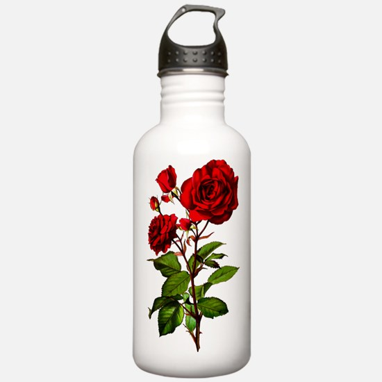 Vintage Red Rose Water Bottle