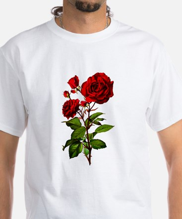 Vintage Red Rose White T-Shirt