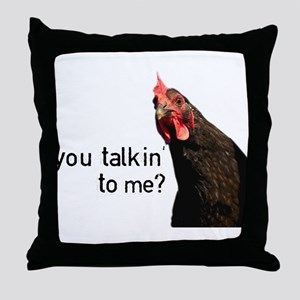 Funny Attitude Chicken Throw Pillow