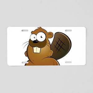 Cartoon Beaver Aluminum License Plate