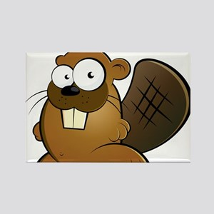 Cartoon Beaver Rectangle Magnet