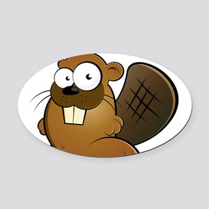 Cartoon Beaver Oval Car Magnet