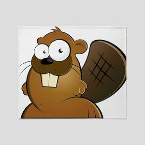 Cartoon Beaver Throw Blanket