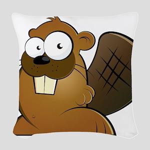 Cartoon Beaver Woven Throw Pillow