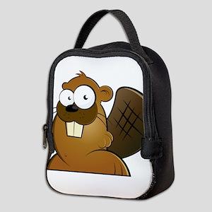Cartoon Beaver Neoprene Lunch Bag