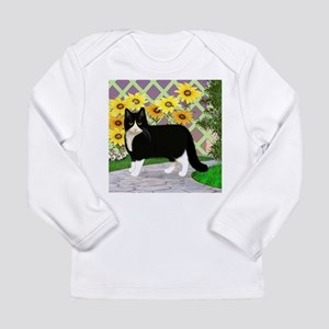 Tuxedo Cat in the Garden Long Sleeve T-Shirt