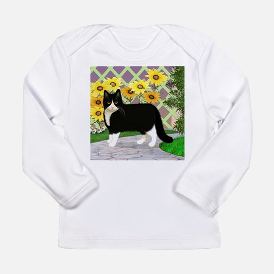 Tuxedo Cat in the Garden Long Sleeve T-Shirt