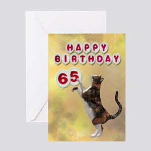 65th birthday with a cat Greeting Card