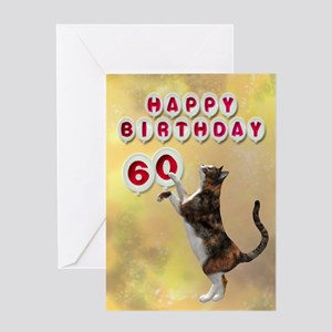 60th birthday with a cat Greeting Card