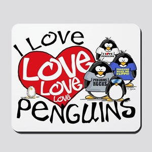 I Love Love More Penguins Mousepad