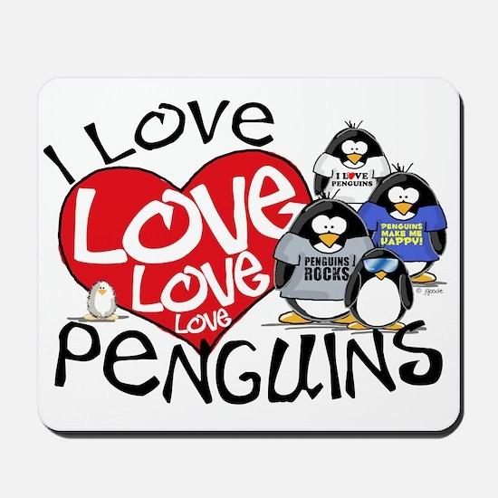 I Love Love More Penguins Mousepad