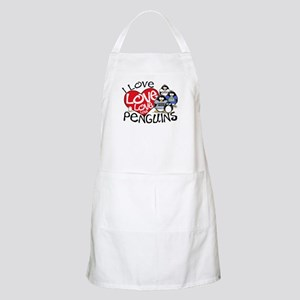 I Love Love More Penguins BBQ Apron