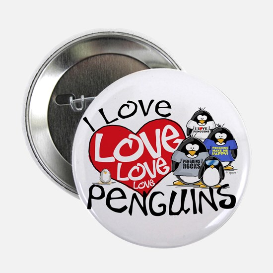 I Love Love More Penguins Button