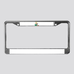 Girl Grating Potatoes Happy H License Plate Frame