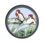 Art Nouveau: Bathing Nymphs Wall Clock