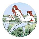 Art Nouveau: Bathing Nymphs Round Car Magnet