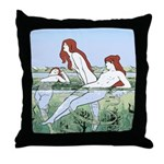 Art Nouveau: Bathing Nymphs Throw Pillow