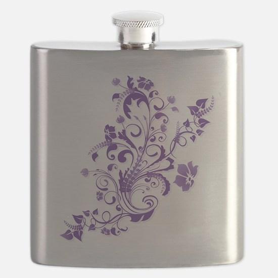 Purple Floral Swirl 2 Flask