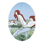 Art Nouveau: Bathing Nymphs Ornament (Oval)