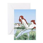 Art Nouveau: Bathing Nymphs Greeting Cards (Pk of