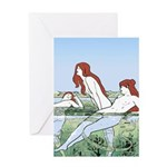 Art Nouveau: Bathing Nymphs Greeting Card