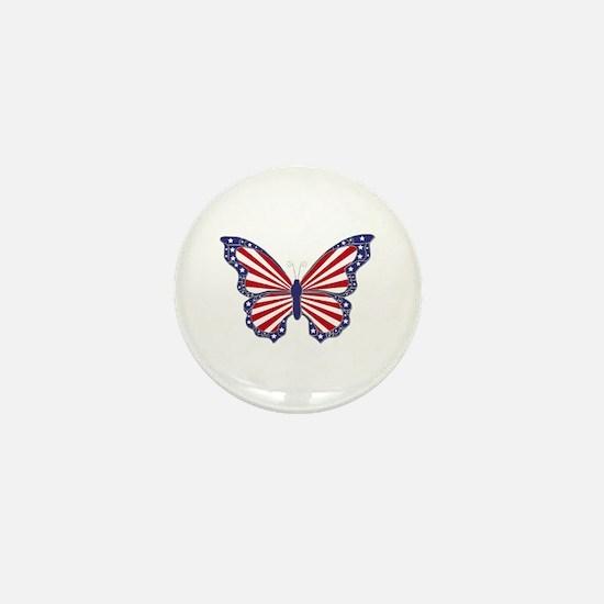 Patriotic Butterfly Mini Button