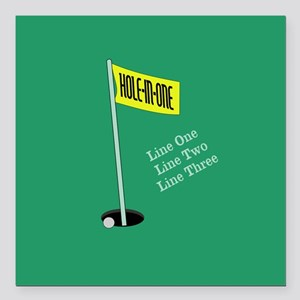 """Golf Hole in One Square Car Magnet 3"""" x 3"""""""