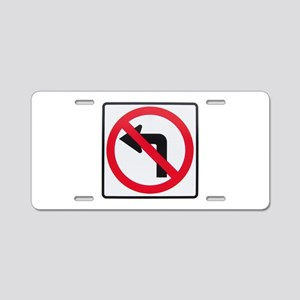 No Left Turn Aluminum License Plate