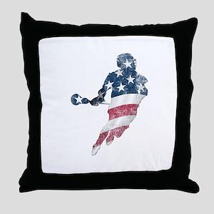 USA Lacrosse Throw Pillow