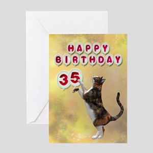 35th birthday with a cat Greeting Card