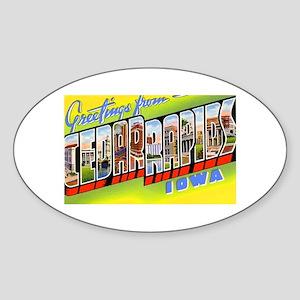 Cedar Rapids Iowa Greetings Oval Sticker