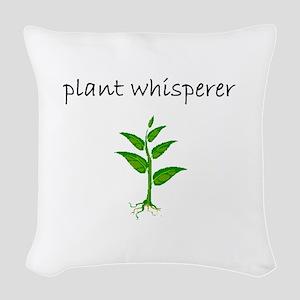 plant whisperer Woven Throw Pillow
