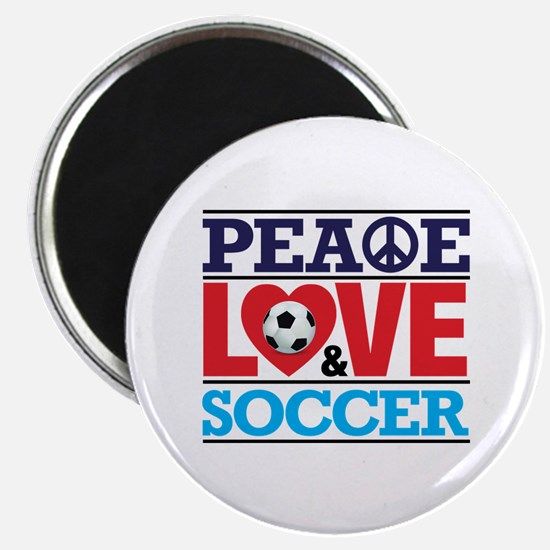 Peace Love and Soccer Magnet