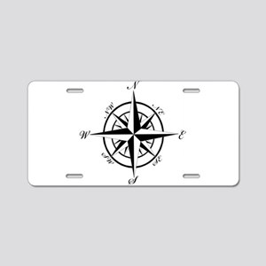 Vintage Compass Aluminum License Plate