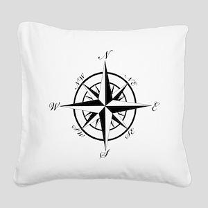 Vintage Compass Square Canvas Pillow