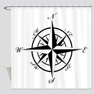 Vintage Compass Shower Curtain