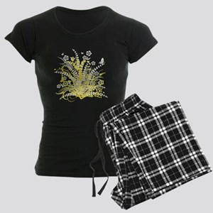 Yellow Floral Swirl 3 Women's Dark Pajamas