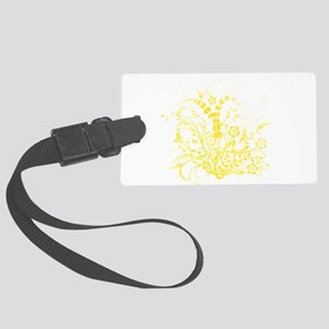 Yellow Floral Swirl 3 Large Luggage Tag