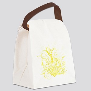 Yellow Floral Swirl 3 Canvas Lunch Bag