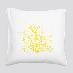 Yellow Floral Swirl 3 Square Canvas Pillow