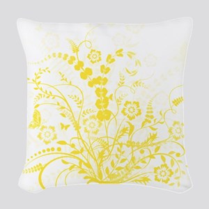 Yellow Floral Swirl 3 Woven Throw Pillow
