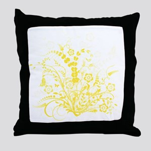 Yellow Floral Swirl 3 Throw Pillow