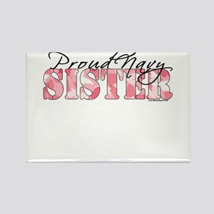 Proud Navy Sister (Pink Butterfly Camo) Rectangle